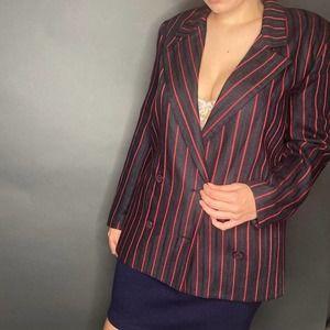 Vintage Christian Dior Red Navy Stripe Blazer 8